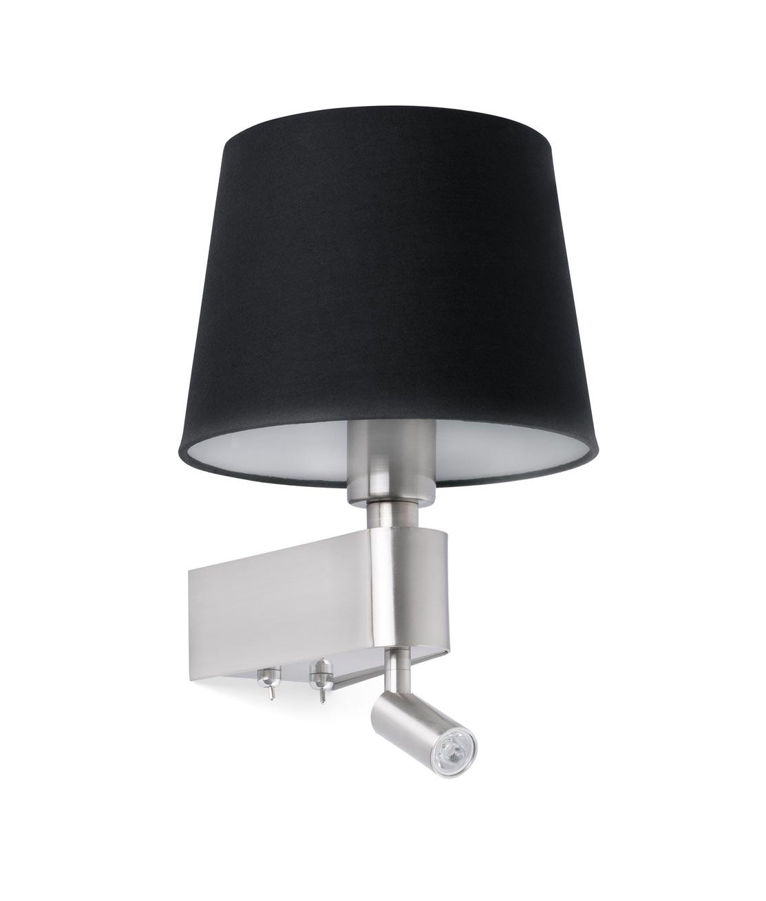 Aplique negro con lector LED ROOM