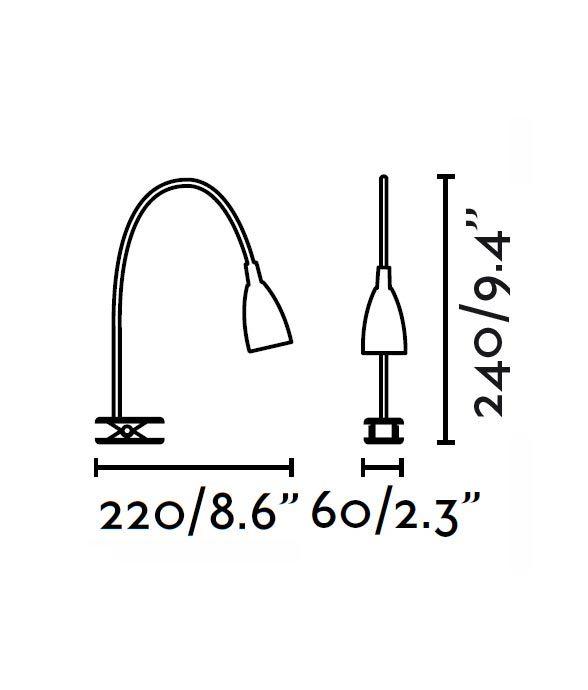 Medidas flexo pinza LED cromo LOKE