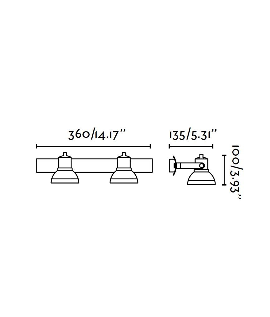 Medidas foco gris RING 2 luces