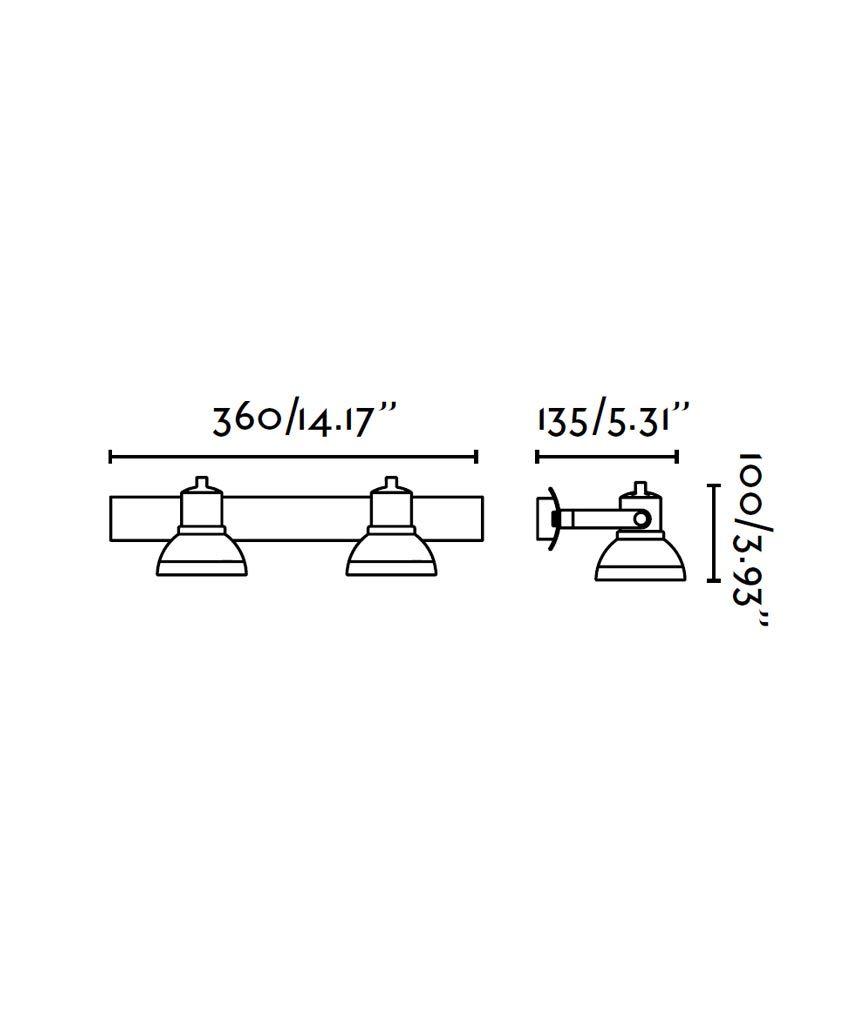 Medidas foco níquel mate RING 2 luces