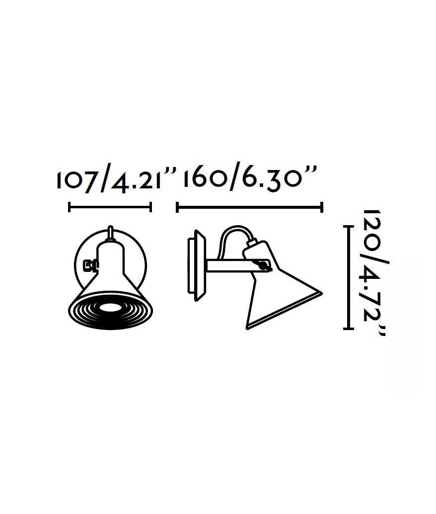 Medidas lámpara aplique blanco 1 luz CUP