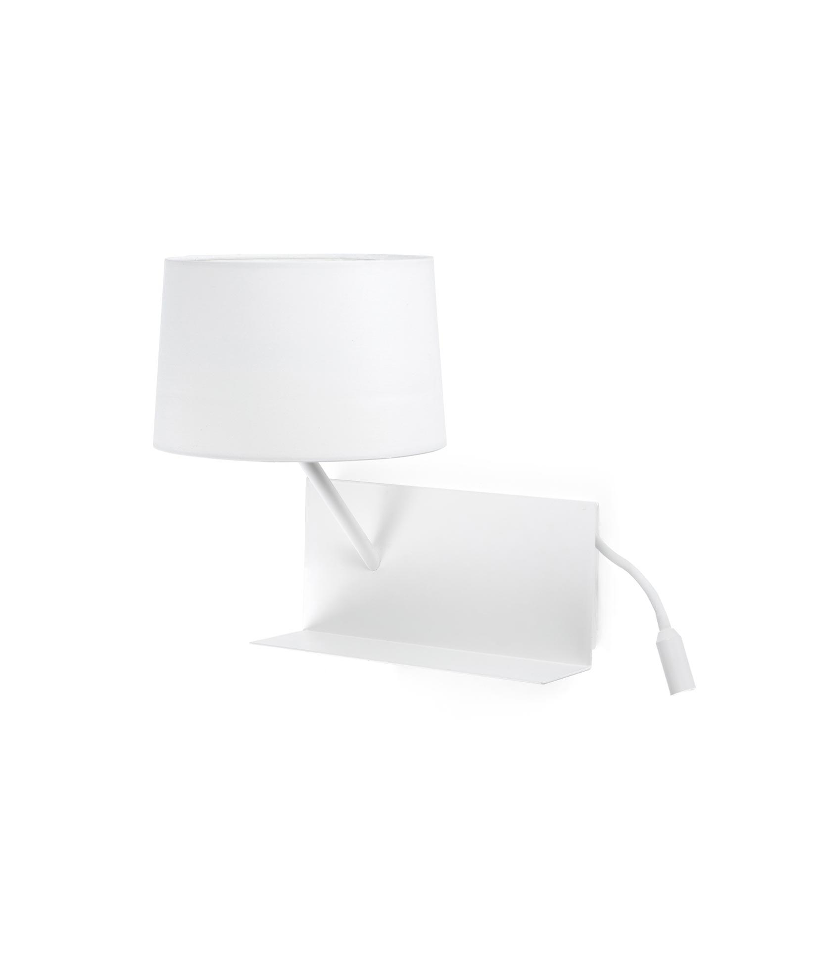 Lámpara aplique con lector LED izquierda HANDY blanca