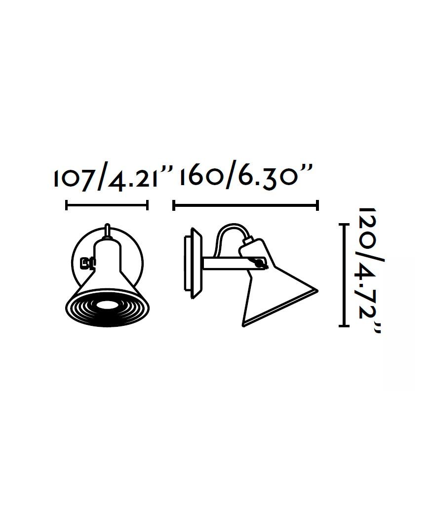 Medidas lámpara aplique níquel 1 luz CUP