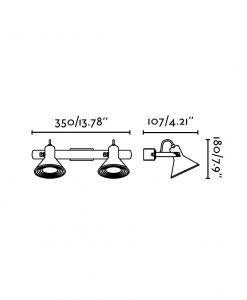 Medidas lámpara aplique níquel 2 luces CUP