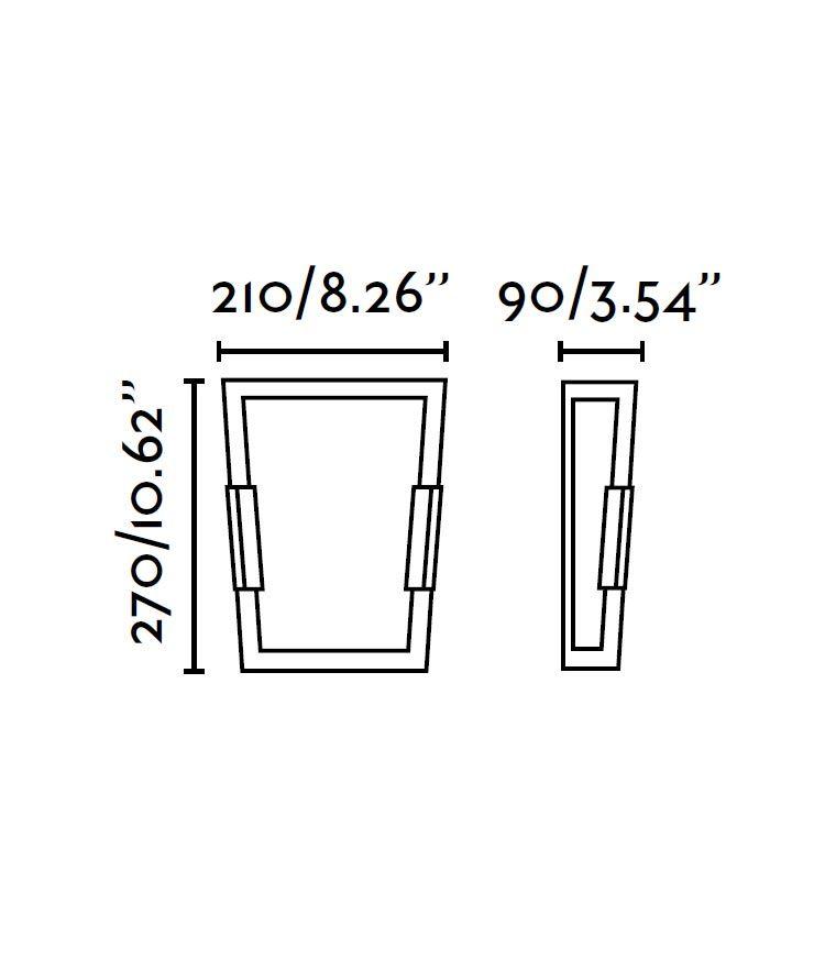 Medidas lámpara aplique níquel mate TWIN-3