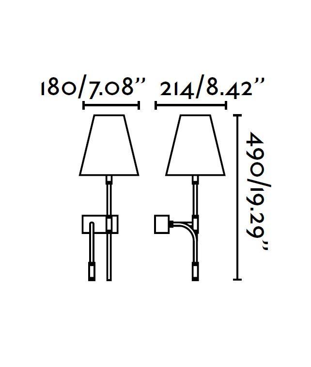 Medidas lámpara aplique con lector LED derecha SABANA