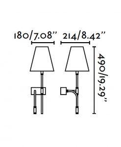 Medidas lámpara con lector LED izquierda SABANA
