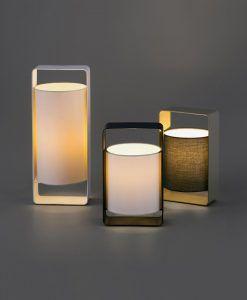 Lámpara de mesa blanca y negra pequeña LULA detalle