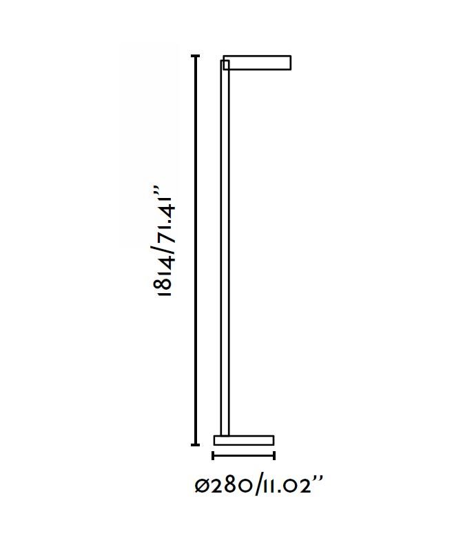 Medidas lámpara de pie níquel satinado NEXO