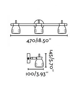 Medidas lámpara foco blanca 3 luces MIKA