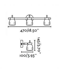 Medidas lámpara foco negro 3 luces MIKA