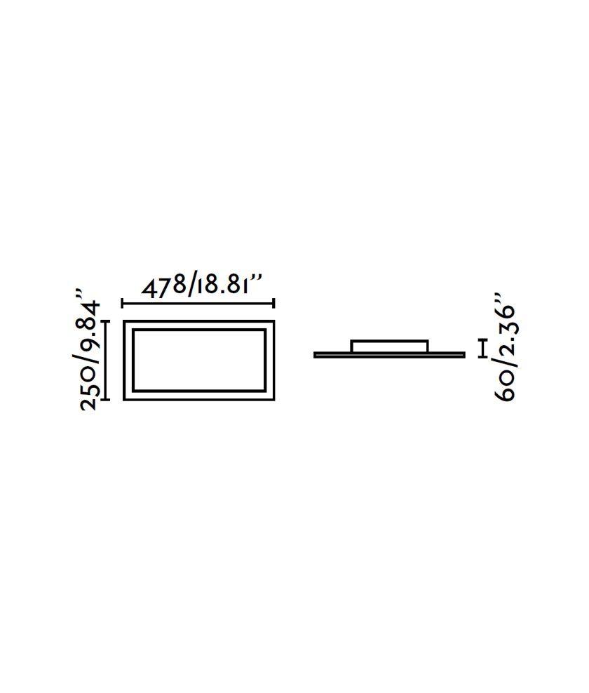 Medidas plafón rectangular níquel mate AZOR
