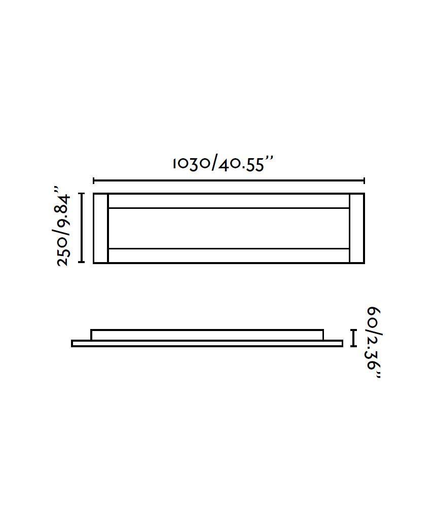 Medidas plafón rectangular níquel y cromo AZOR