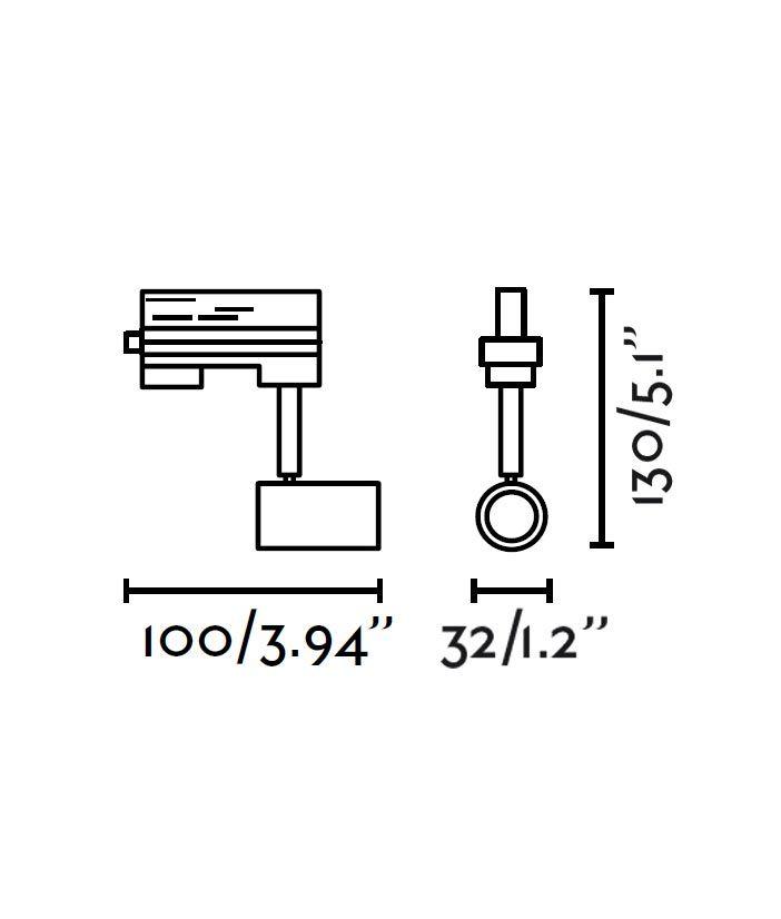Medidas proyector de carril blanco PLOT con bombilla