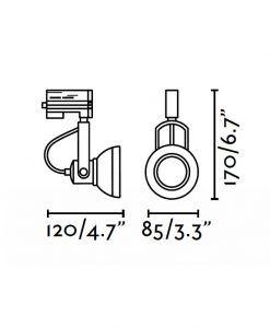 Medidas proyector de carril gris RING