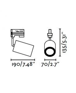 Medidas proyector de carril negro NAN