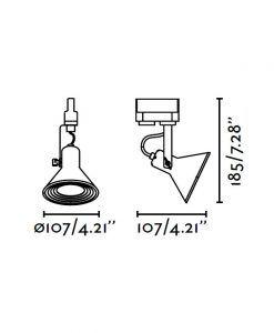 Medidas proyector de carril níquel satinado CUP