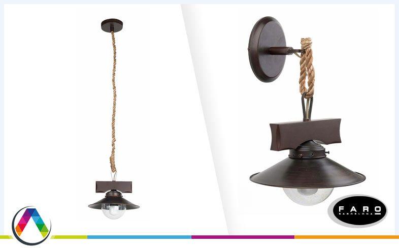 Aplique rústico y lámpara colgante rústico NUDOS en La Casa de la Lámpara