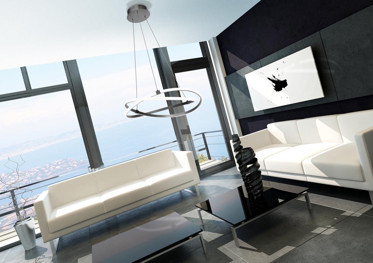 Lámpara de techo mediana cromo INFINITY ambiente
