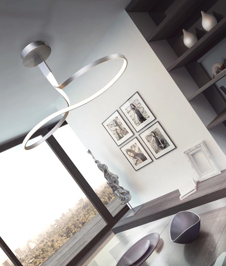 Lámpara lazo NUR plata cromo ambiente