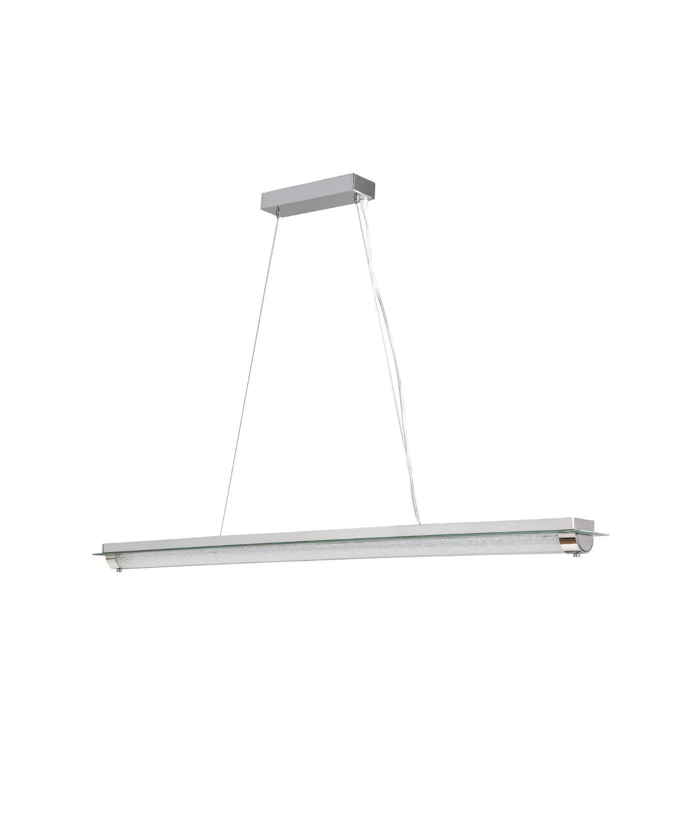 Lámpara colgante LED grande TUBE cromo cristal