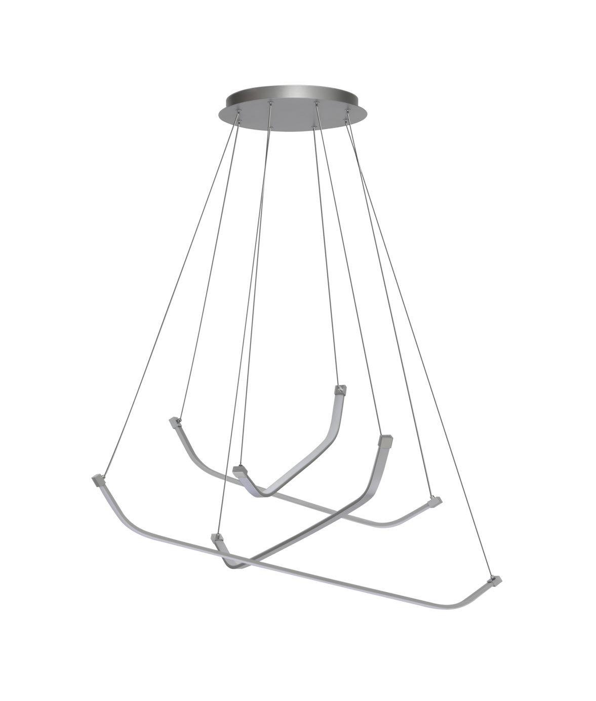Lámpara de techo grande PAPUA LED cromo plata