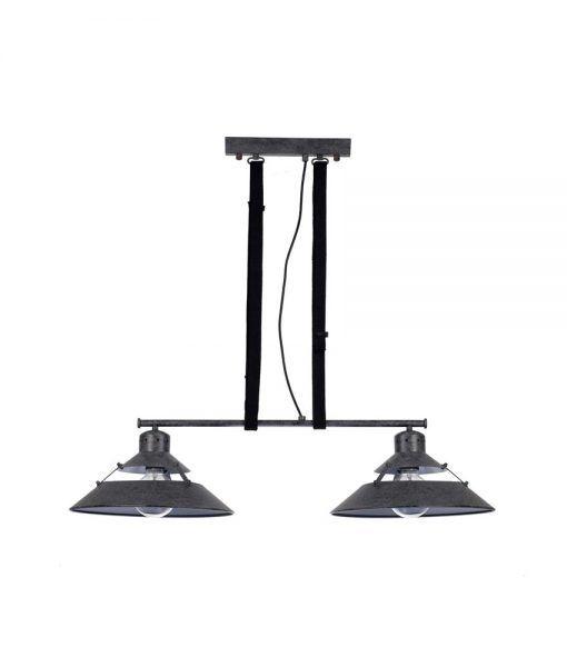 Lámpara de techo gris ceniza 2 luces INDUSTRIAL