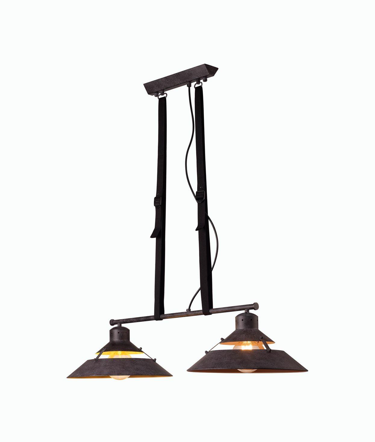 Lámpara de techo negra 2 luces INDUSTRIAL cambio posición
