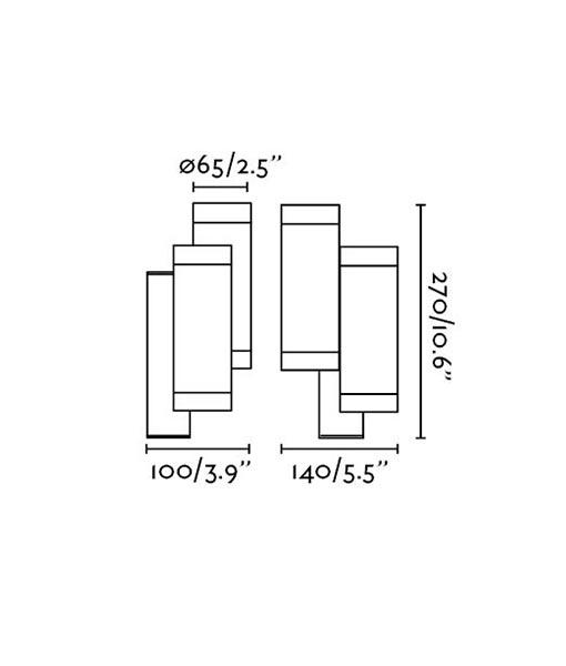 Medidas aplique doble luz STEPS blanco