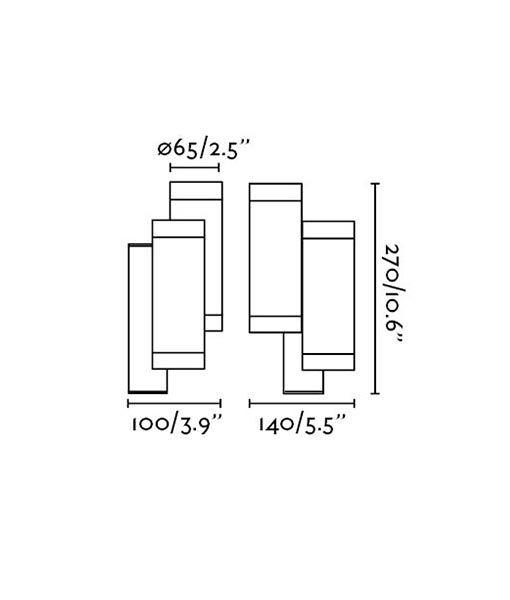 Medidas aplique doble luz STEPS gris oscuro