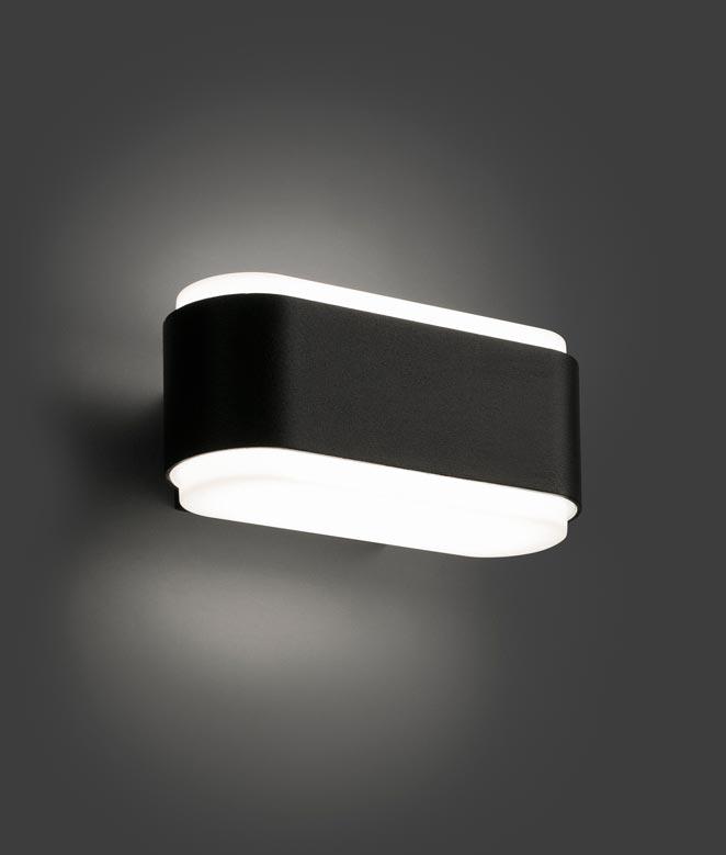 Aplique negro exterior ZOE LED detalle