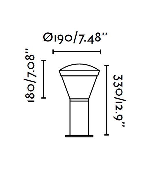 Medidas baliza 32 cm SHELBY LED