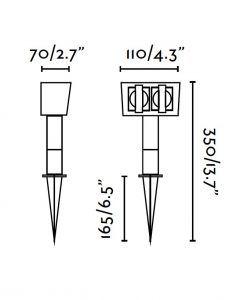 Medidas estaca con 2 tomas de corriente GARDEN