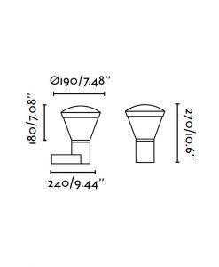 Medidas lámpara aplique exterior SHELBY LED