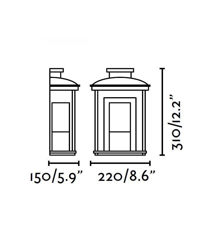 Medidas lámpara aplique negro CERES-1