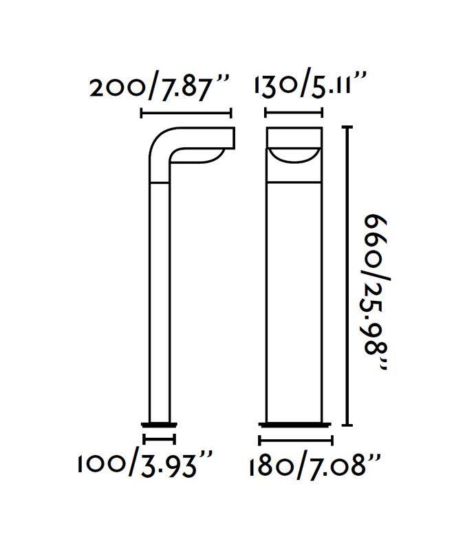 Medidas lámpara baliza KLAMP 66 cm