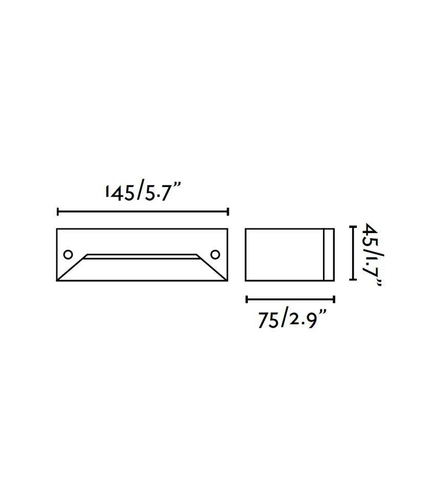 Medidas lámpara empotrable INDI-2 LED gris oscuro