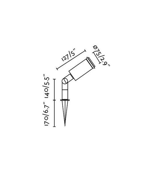 Medidas lámpara estaca orientable GARTEN