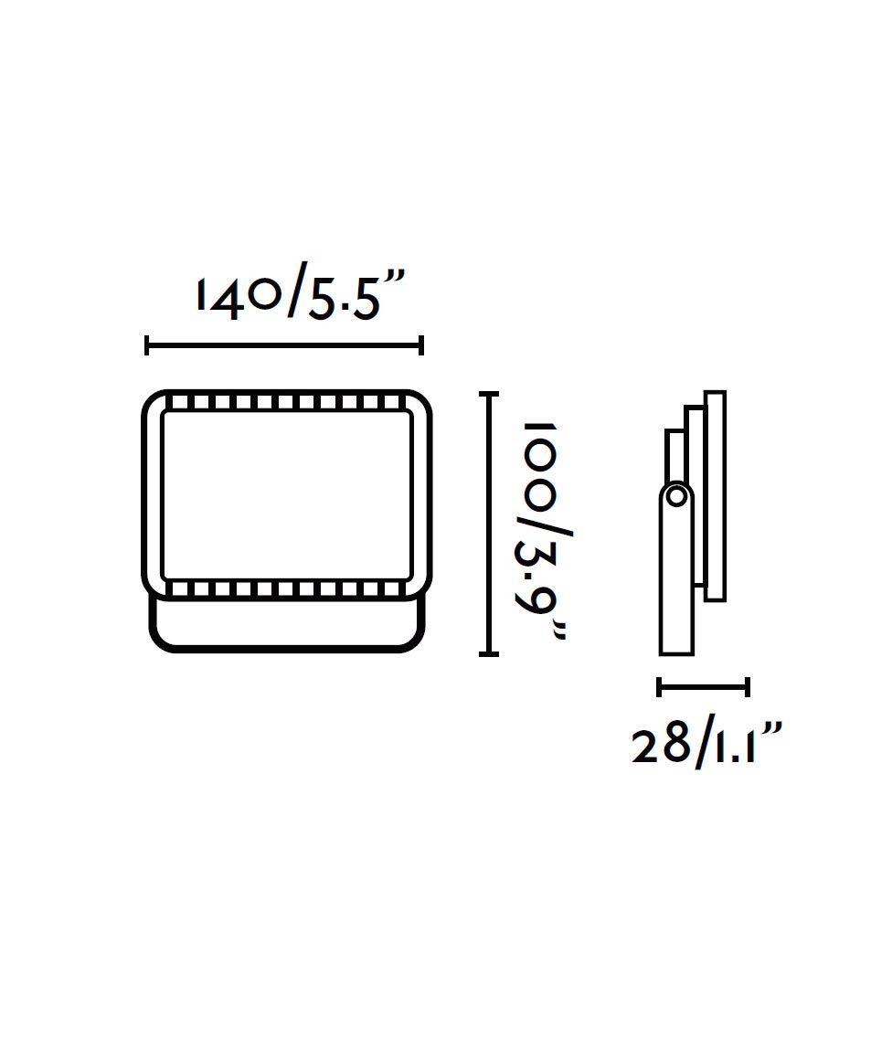 Medidas proyector gris oscuro FLUX LED