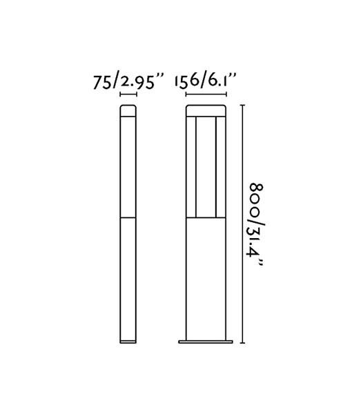 Medidas baliza de diseño de 80 cm NANDA LED