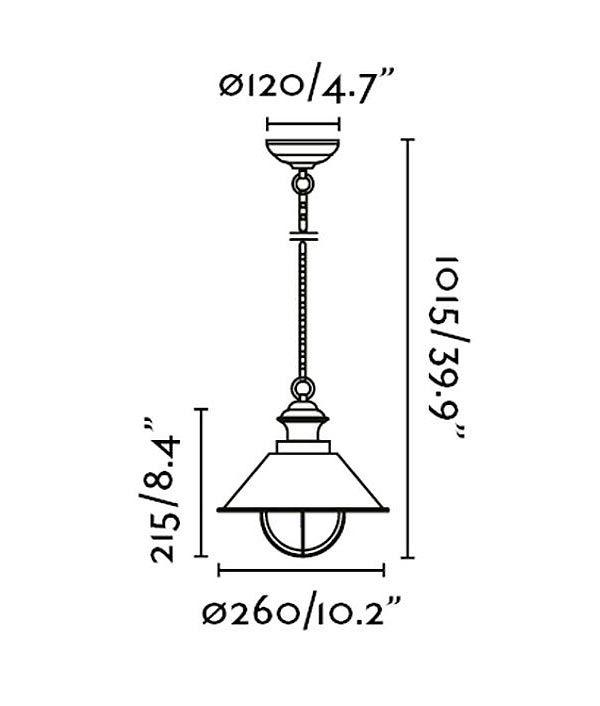 Medidas lámpara atemporal NÁUTICA-P
