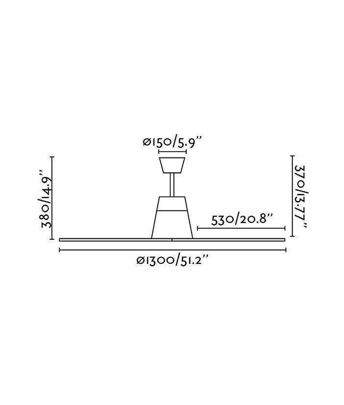 Medidas ventilador blanco TYPHOON con motor DC