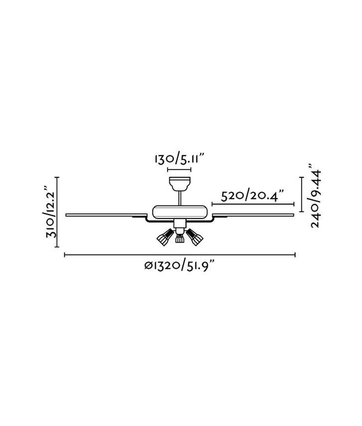 Medidas ventilador clásico marrón ALOHA