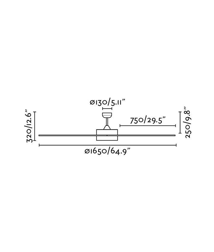 Medidas ventilador con motor DC CENTURY LED