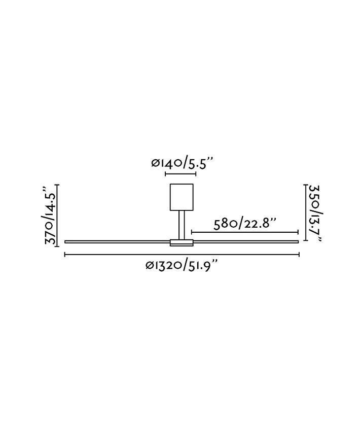 Medidas ventilador con motor de bajo consumo TAO