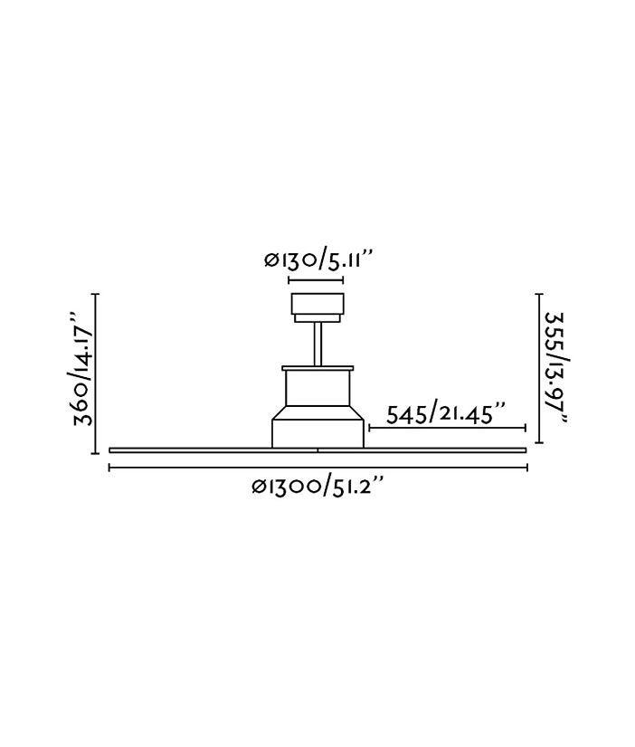 Medidas ventilador cromo WINCHE