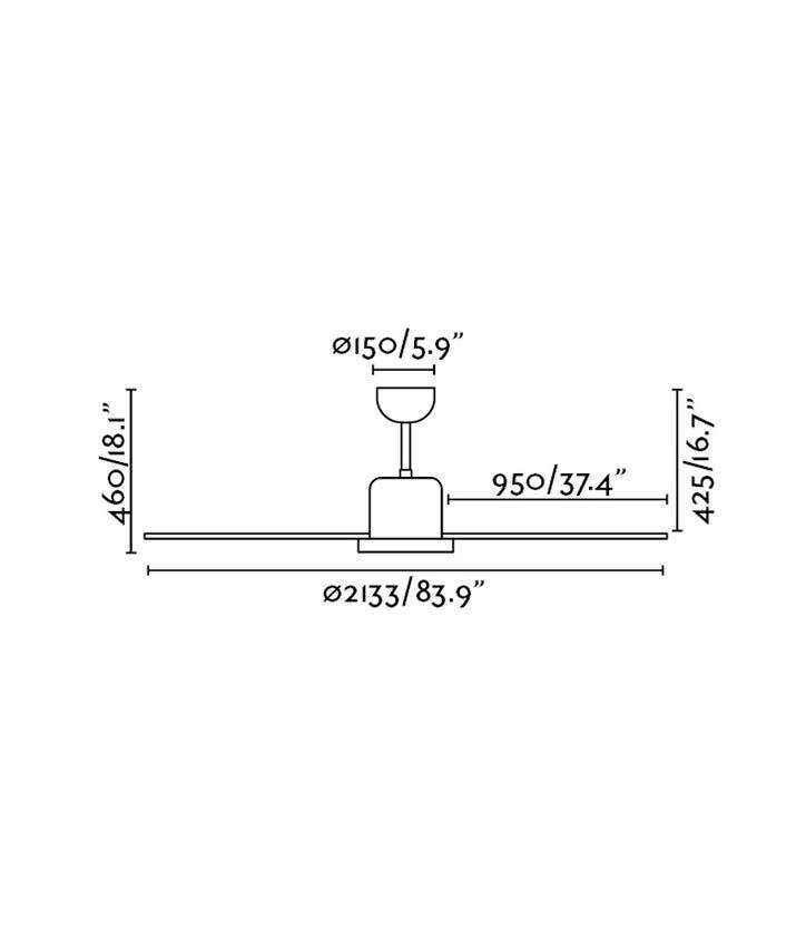 Medidas ventilador de diseño rompedor ANDROS