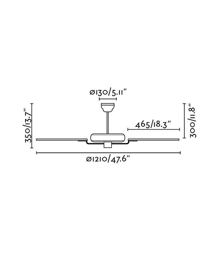 Medidas ventilador de techo blanco YAKARTA