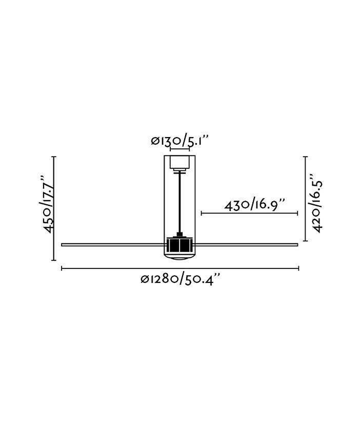 Medidas ventilador de techo con motor DC TUBE FAN