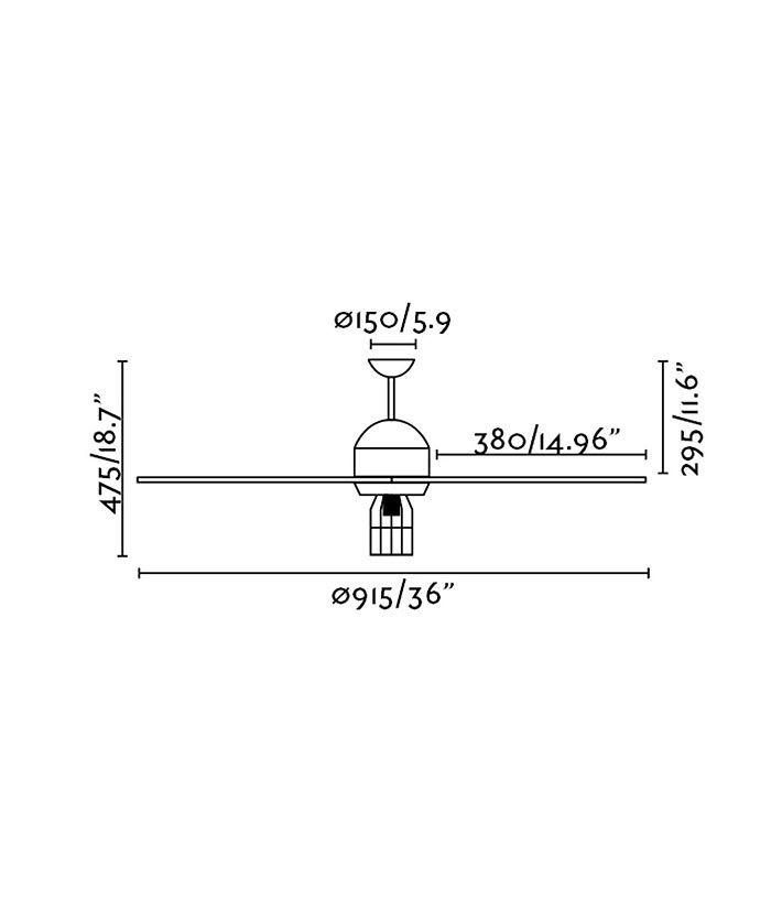 Medidas ventilador de techo estilo industrial CHICAGO